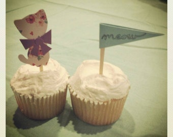 Vintage Cat Cupcake Toppers