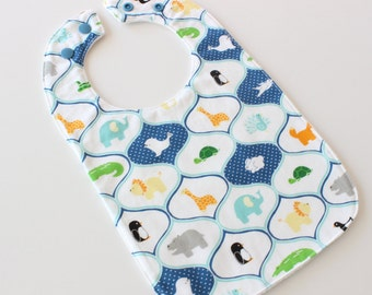 Original baby bib - zoo animals