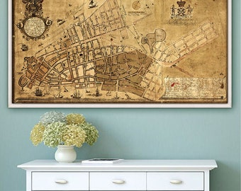 "Map of New York 1755, Old Manhattan map in 3 sizes up to 45x24"" (114x61 cm) historical map of downtown Manhattan - Limited Edition of 100"