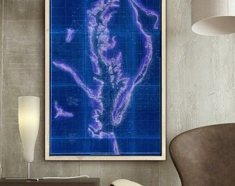 """Map of Chesapeake Bay (1855) Old Chesapeake Bay Nautical Chart in 3 sizes up to 24x36"""" (60x90cm) also in blue - Limited Edition - Print 5"""