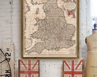 "Map of England 1688, Large Old England map, 4 sizes up to 36x43"" (90x110cm) Vintage map of England and Wales - Limited Edition of 100"