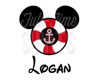 Personalized Lifesaver Mickey Mouse Disney Cruise Iron On Decal Vinyl for Shirt