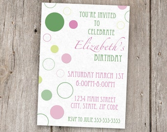 Birthday Girl Invitation, Pink and Green, Digital, Printable, 5x7, 5by7