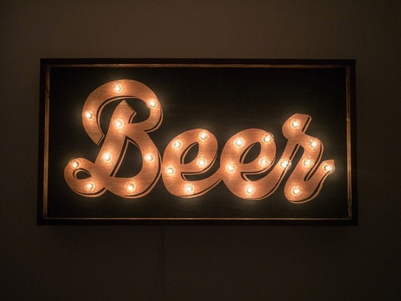 Beer Handcrafted Wooden Light Bulb Sign
