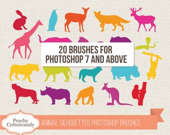 BUY 2 GET 1 FREE Wild Animal Silhouettes Photoshop Brushes - animals silhouette photoshop brush - photoshop brushes - Commercial Use Ok