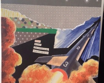 12x12 Art Collage Rocket Ship