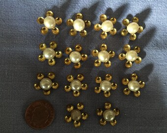 Set of 14 Fabulous 1950s Faux Pearl and Brass Sweater Appliques