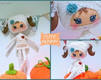 PDF. Cute Mummy. Felt doll.Halloween