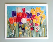 Original Silk Painting with Bright Flowers Tulips Batik Framed Fiber Art