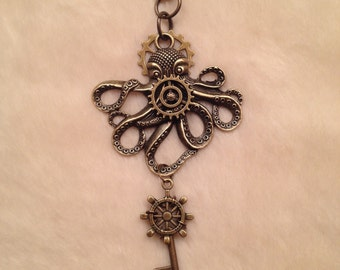 Bronze Octopus Gear Key Charm Necklace