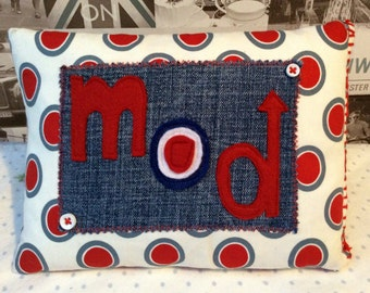 Mod Target Appliqued Small Decorative Cushion