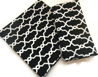 Black geometric napkins, Eco-friendly napkins ,Set of 2 Napkins, cotton fabric