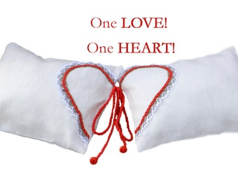 Wedding Gift - White Linen Love Pillows 2 in 1 - Wedding Pillows - Anniversary Pillows - Wedding Couples Gift - His and Her Pillows