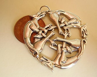 Heavy Sterling Silver Three  Dogs Intertwined Celtic Pendant