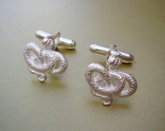 One Pair Sterling Silver Snake Cufflinks In Presentation Box