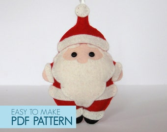 PDF pattern. Santa Claus, Christmas Xmas tree ornament, embellishment, . Felt sew.