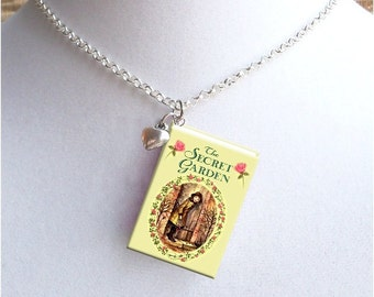 The Secret Garden with Tiny Heart Charm - Miniature Book Necklace