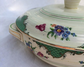 Rare Ribstone Ware Booths 1930's Covered Casserole Dish