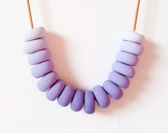 Lavender Macaron - Purple Polymer Clay Necklace