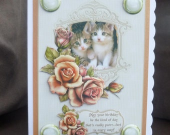 Cute Kittens & Roses Happy Birthday Card - Handcrafted in UK - 3d decoupage