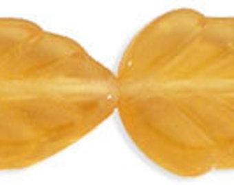 Czech Glass 10x8mm Leaf - Amber - Pack 20