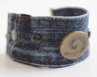 Bracelet Cuff Studs Bronze Blue Denim Jeans Seams Fabric Jewelry Women