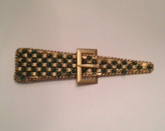 Vintage Paristyle Gold Green Bead Belt Buckle 1930s