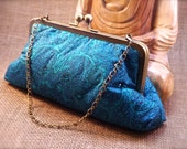 Turquoise Leaf Design Sari Diamante Clutch P6