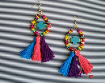 Multicolor Crosses and Tassels Earrings