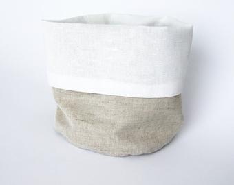 Linen storage / bread basket - Gray and white natural linen storage/bread bag