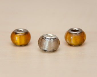 Large Hole European Glass Beads for Charm Bracelets, Amber and Grey Silver Foil, Sterling Silver Core (3 pieces)