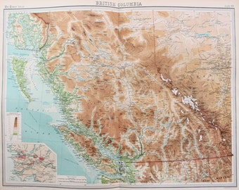 Huge 1922 Antique Map, North America, Canada, British Columbia