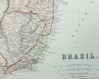 Blackie 1882 Antique Map - South America, Brazil, Amazon