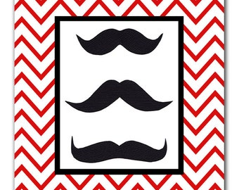 Mustache Art, 8x10 Print, 5x7 Print, Boys Bedroom, Kids Bathroom, Red & Black Bedroom, Kids Wall Art, Chevron