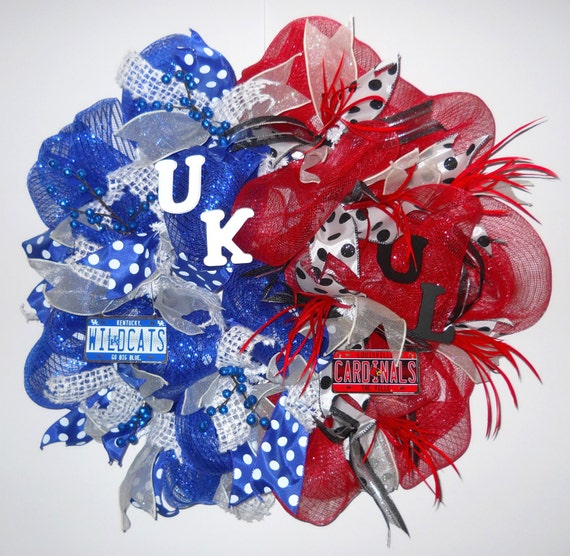 Uk Ul College Team Sports Fan House Divided Deco Mesh Wreath