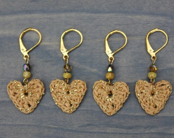 Crocheted heart removable stitch markers for knitting and crocheting