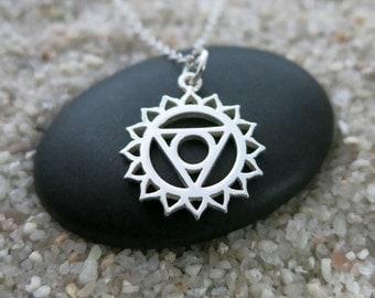 Throat Chakra Necklace, Sterling Silver Throat Chakra Charm, Chakra Jewelry