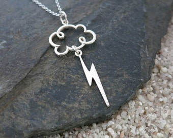 Lightning Cloud Necklace, Sterling Silver Cloud & Lightning Charms, Weather Jewelry