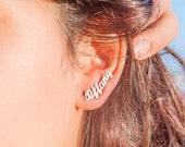Gold Name Earring - Ear Climber - Custom NAme Earring - Ear JAcket - Rose Gold Name Earring-  Stud Earrings - Custom Jewelry