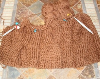 IN PROGRESS Hand Knit Afghan/Blanket, 5 Giant Cable Panels, Toffee/Rust 2 Skeins at a time