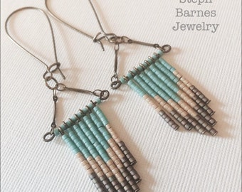 Aztec earrings in aqua, cream and stone