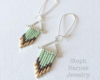 Fringe earrings in neutrals and mint