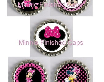 5 Minnie Mouse Inspired Finished Bottle Caps