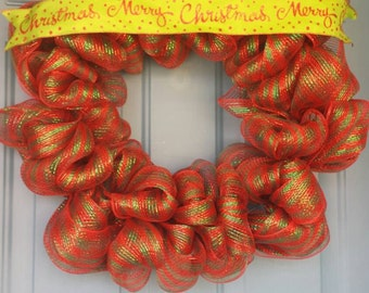 Christmas Wreath, Merry Christmas Wreath, Christmas decorations, front door Christmas, holiday wreath