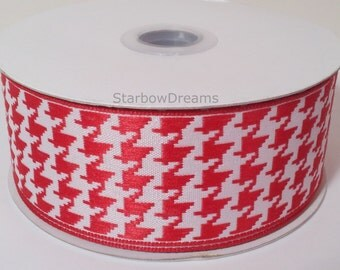 """1 1/2"""" Wired Houndstooth Ribbon - Red/ White - 10 Yards"""