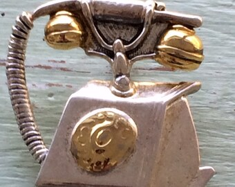 Vintage Telephone Pendant, Silver and Gold Pendant, Telephone Jewelry, Vintage Telephone, Telephone Pendant, Telephone Necklace