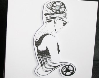 Handmade silhouette style blank 'Retro lady' card