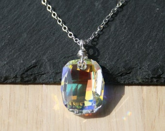50% OFF - Swarovski Crystal Clear AB Graphic Pendant. Sterling Silver Necklace. Swarovski Crystal Jewellery. Rainbow Crystal Jewelry