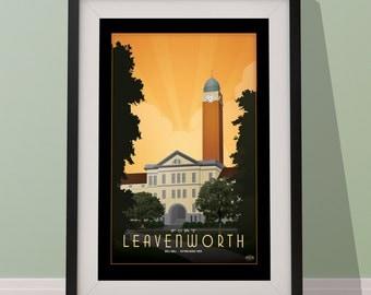 Fort Leavenworth Kansas Matte Litho or Stretched Canvas