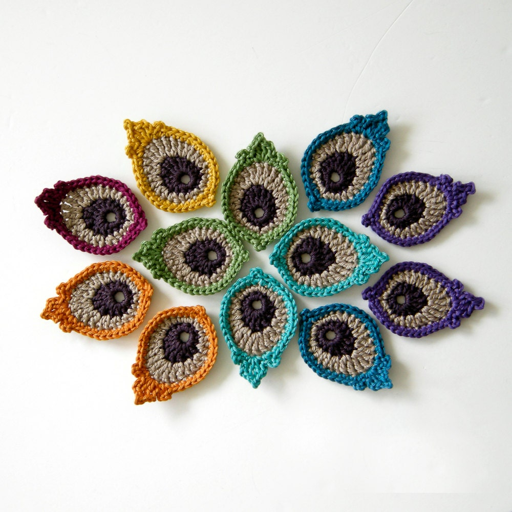 Crochet Pattern For Peacock Feather : Crochet Motif PATTERN: Peacock Eye Feather PHOTO TUTORIAL